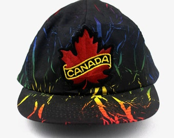 40e3f36bd6e7a 90s Vintage Canada Hat Snapback Hat Embroidered Maple Leaf Patch Hat Neon  Colorful Bamboo Print Black Snapback One Size