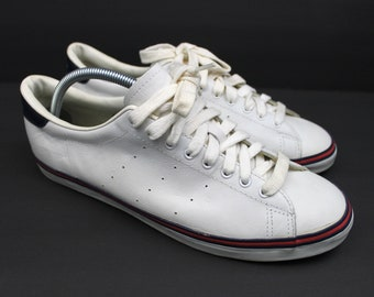 wholesale dealer d754c 63c42 Vintage RALPH LAUREN Polo Sneakers Casual Shoes Lace Up Polo Spell Out  White Leather Sneakers Blue Red Stripe Men s Size 12