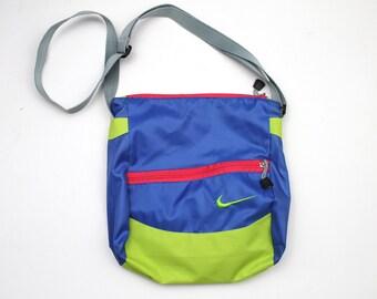 f5a60748f4f8b1 90s Vintage Nike Swoosh Logo Bag Embroidered Shoulder Bag Crossbody Bag  Nike Bag Colorblock Blue Neon Green Pink