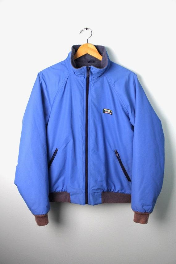 90s Vintage Ll Bean Jacket Zip Up Jacket Warm Up Jacket Fleece Lined Blue Ll Bean Jacket Made In Usa Mens Size Large