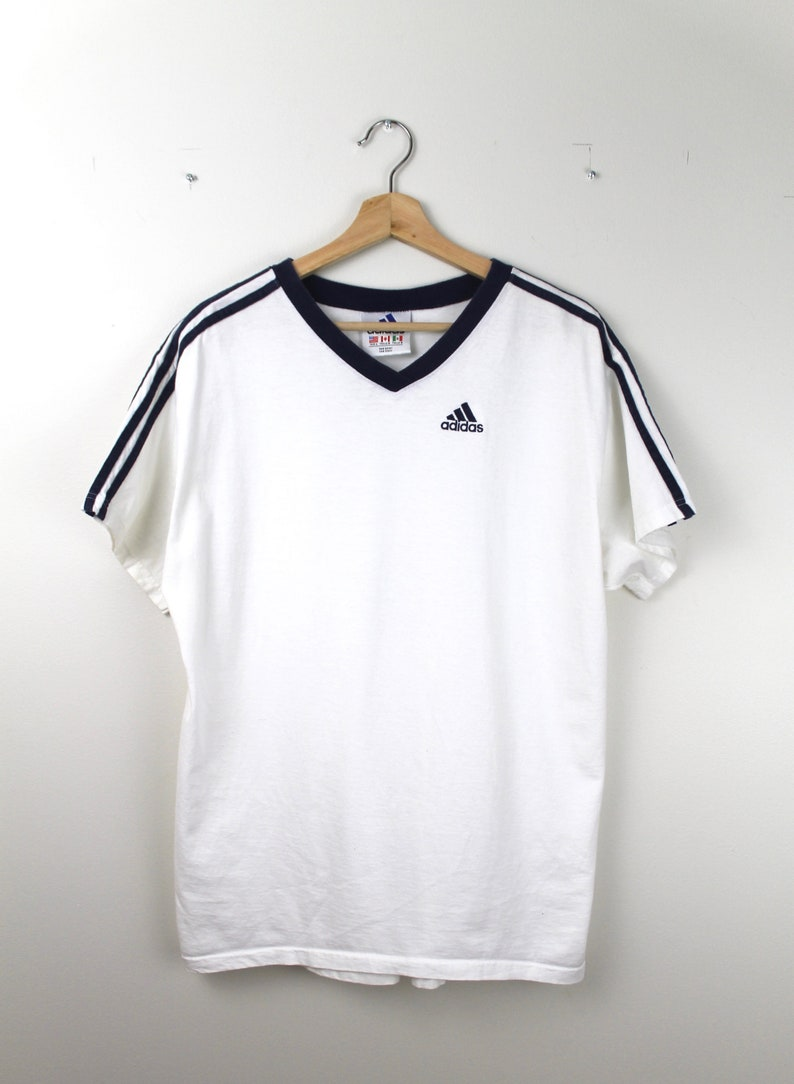 a2dae7f05bac8 90s Vintage ADIDAS T-Shirt V-Neck T-Shirt Embroidered Adidas Spell Out  Adidas Logo 3 Stripe Navy Blue White Adidas T-Shirt Size Large