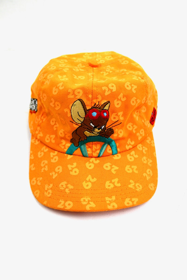 bfd270163 90s Vintage WACKY RACES Hat 1996 Hanna Barbera Productions Wacky Racing  Adjustable Strap Back Cartoon Network TV Series Tom and Jerry Orange