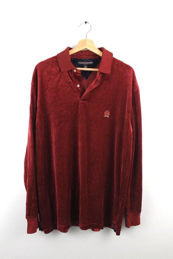 90 s rare Vintage TOMMY HILFIGER Polo Shirt velours de coton   Etsy c042eb5b8127