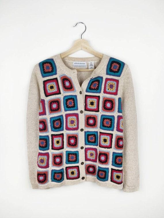 Vintage GRANNY SQUARE Cardigan Sweater Hand Knit C