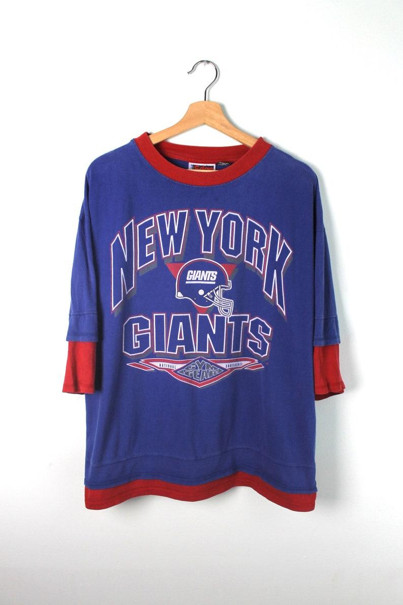 brand new 8eda7 d0293 90s Vintage NY GIANTS T-Shirt New York Giants Shirt Giants Football NFL Gym  Gear Quarter Length Shirt Blue Red Size Large