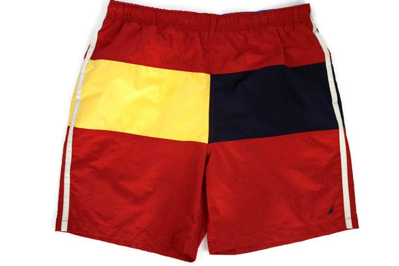 d4790a75ad964 90s Vintage NAUTICA Swim Shorts Embroidered Nautica Sailboat Logo 90s Color  Block Swim Trunks Red Navy Blue Yellow Stripe Size Large