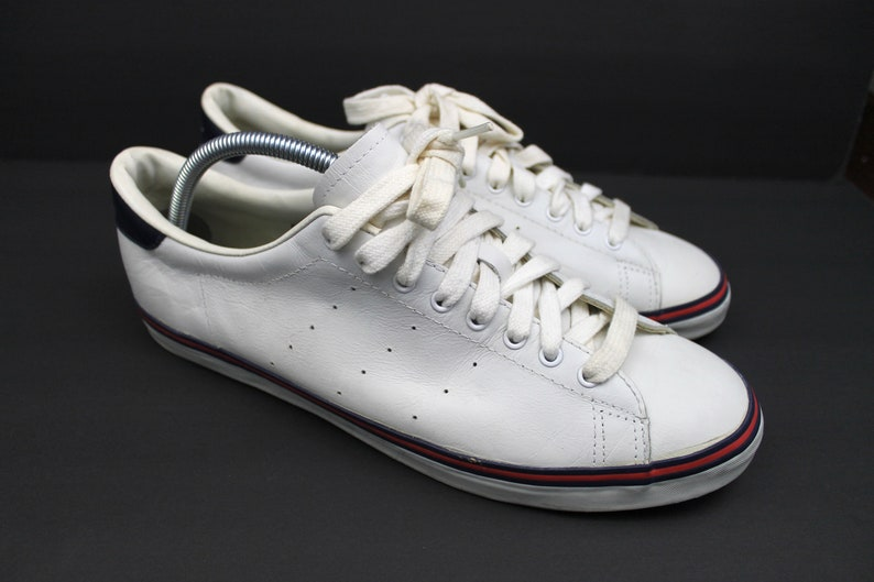 Vintage RALPH LAUREN Polo Sneakers Casual Shoes Lace Up Polo Spell Out White Leather Sneakers Blue Red Stripe Men's Size 12