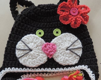 Black Cat Hat, Kids Hat, Animal Hat, Kitty Hat, Girl Hat, Crochet Hat, Baby Hat, Toddler Hat, Child Hat, Children Hats
