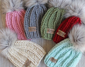de9f1b1bbd3 cheap kids bobble hat handmade baby beanie knitted childrens hat kids pom  pom 630c7 1c74e  promo code for knitted hat etsy dc0a5 b38af