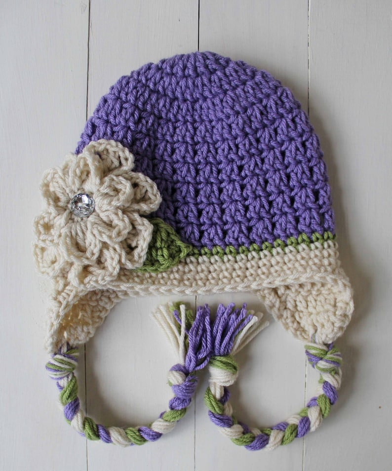 ef55893081c Girl Hats Crochet Flower Hat Jilly Beanies Boutique Purple