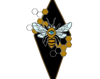 What Do You Bee-lieve? Sticker, bee, occult, honeycomb, hive, sacred geometry, wings, clear, transparent
