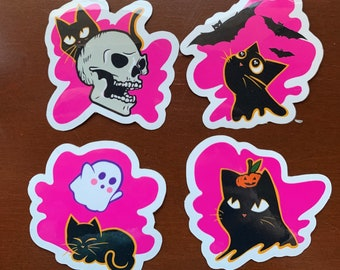 SPOOKY KITTY cute halloween spooky creepy kitty cat sticker skull ghost pumpkin bats black cat illustration occult witch mystical