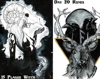 Inktober 2017 Print Collection (ink, pen, art, stag, crow, raven, skull, halloween, witch, tarot, sacred geometry, magic, owl, cat)