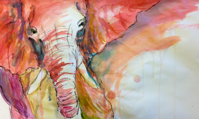 Elephant print animals wildlife paint watercolor image 0