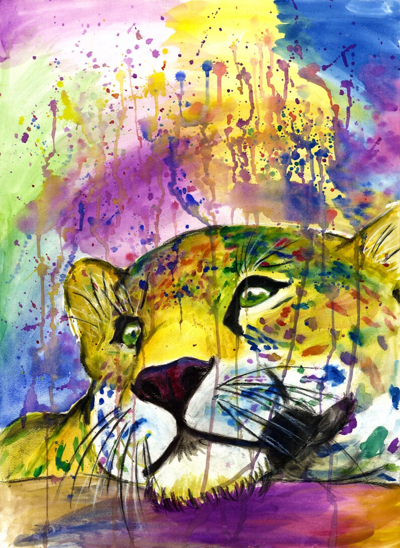 Daydreaming Leopard print animals wild watercolor art big image 0