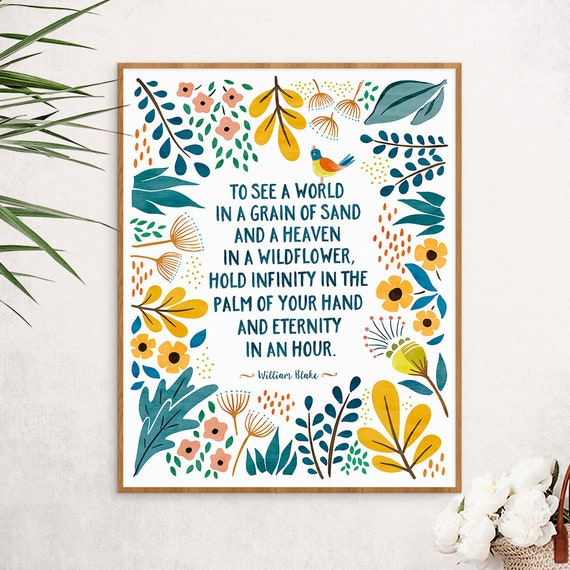 Poem Print William Blake Zen Decor Bohemian Decor Boho Wall Art Whimsical Bookish Literary Gift Wildflowers Poster Nature Art Print