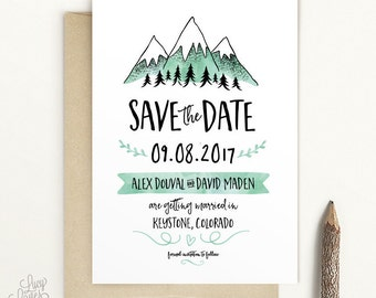 Snowy Mountains Save The Date -  modern rustic, folk save the date, woodland save the date, boho save the date, national park