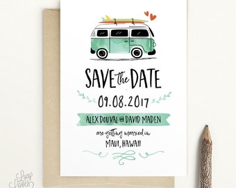 VW Kombi Save The Date -  Vintage VW Bus save the date, surf save the date, VW Van, beach save the date