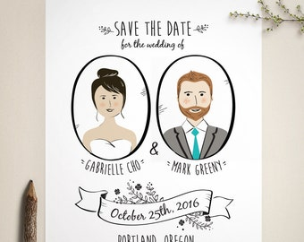 Custom Portrait Save The Date  - folk save the date - boho save the date - couple's portrait illustration - quirky save the date