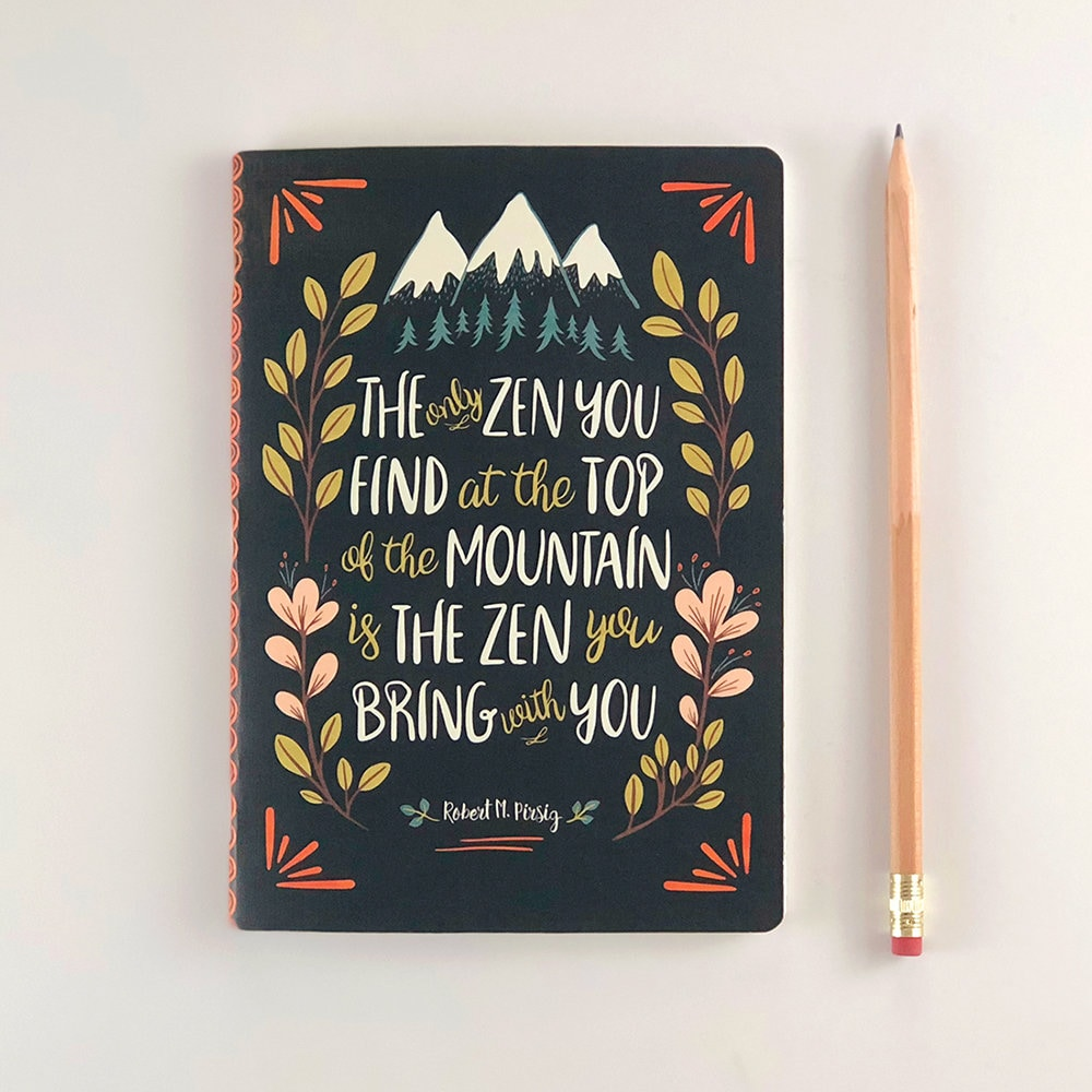 Illustrated Bullet Journal Zen Buddhist Quote Bujo Notebook Etsy