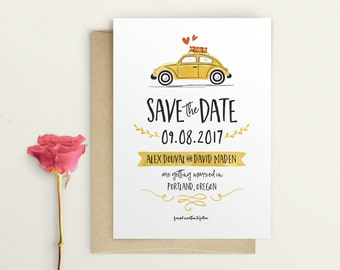Vintage VW Beetle Save the Date - VW Bug Save The Date - Cute and Fun Save The Date - Quirky Save The Date - Car Save The Date