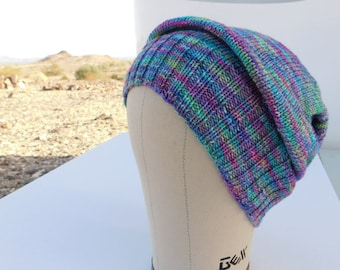 77a2dc12590 Hat Beanie Slouch Hand Knit - PRISM - Teal Chartreuse Lavender Purple Pink  Rose Green Blue Yellow