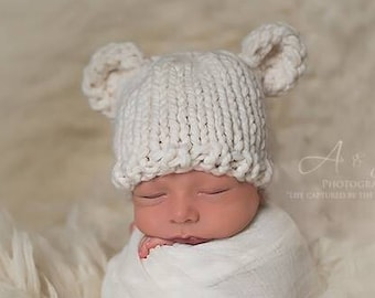 Baby Hat Baby Bear Hat White Knit Baby Hat Chunky Baby Hat Bear Hat Baby  Bear Beanie Free Domestic Shipping RTS 6c6ce5f6991