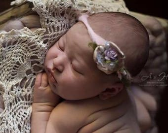 Baby Tie back/Newborn Headband/Newborn Organic Tieback/Handspun Fiber Halo/Pastel Handspun Yarn Headband/Floral Tieback/RTS/Free Shipping