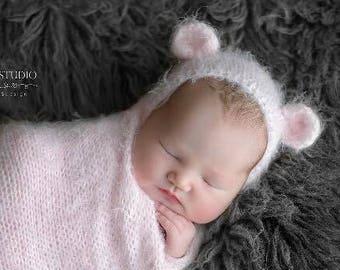 Newborn Bonnet/Knit Baby Bear Hat/Newborn Bear Bonnet/Baby Photo Prop/Baby Bear Hat/Soft Pink Angora Newborn Bear Hat/Free Shipping