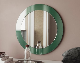 Green wall mirror. MidCentury modern inspired hanging wall mirror with rich, vibrant color meant to evoke the colors of the 1940s & 1950s