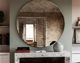 42 Antiqued Round Mirror Decorative Wall Mirror With An Etsy
