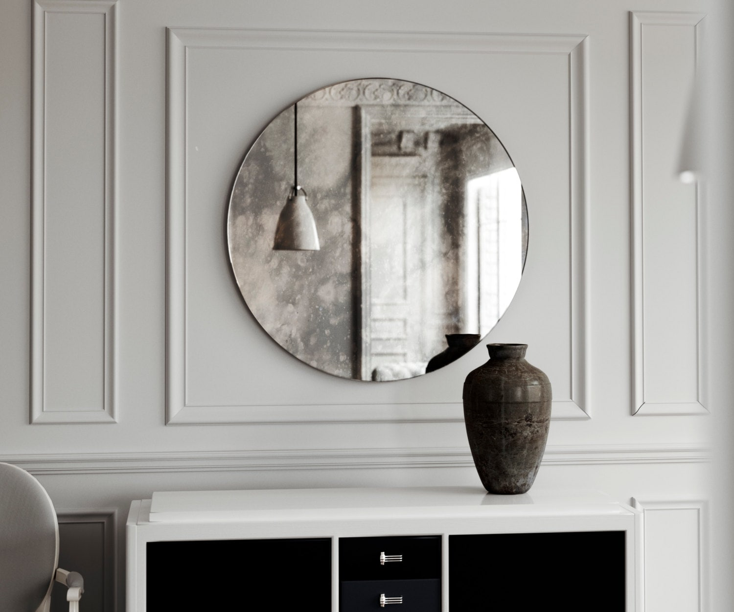 Small Frameless Round Mirror Small Vintage Inspired Antiqued Etsy