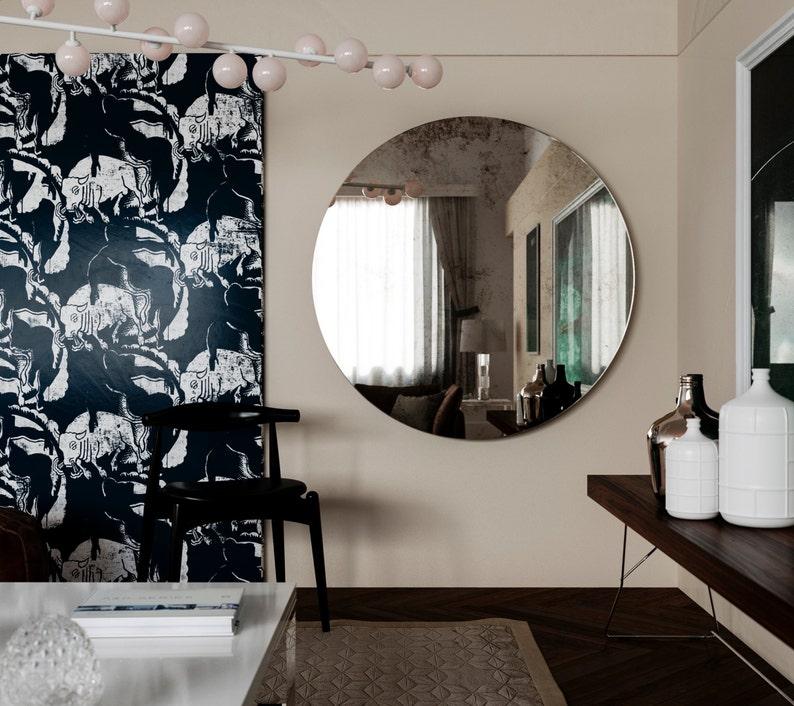 Antique mirror. Round frameless mirror. Modern inspired glass image 0