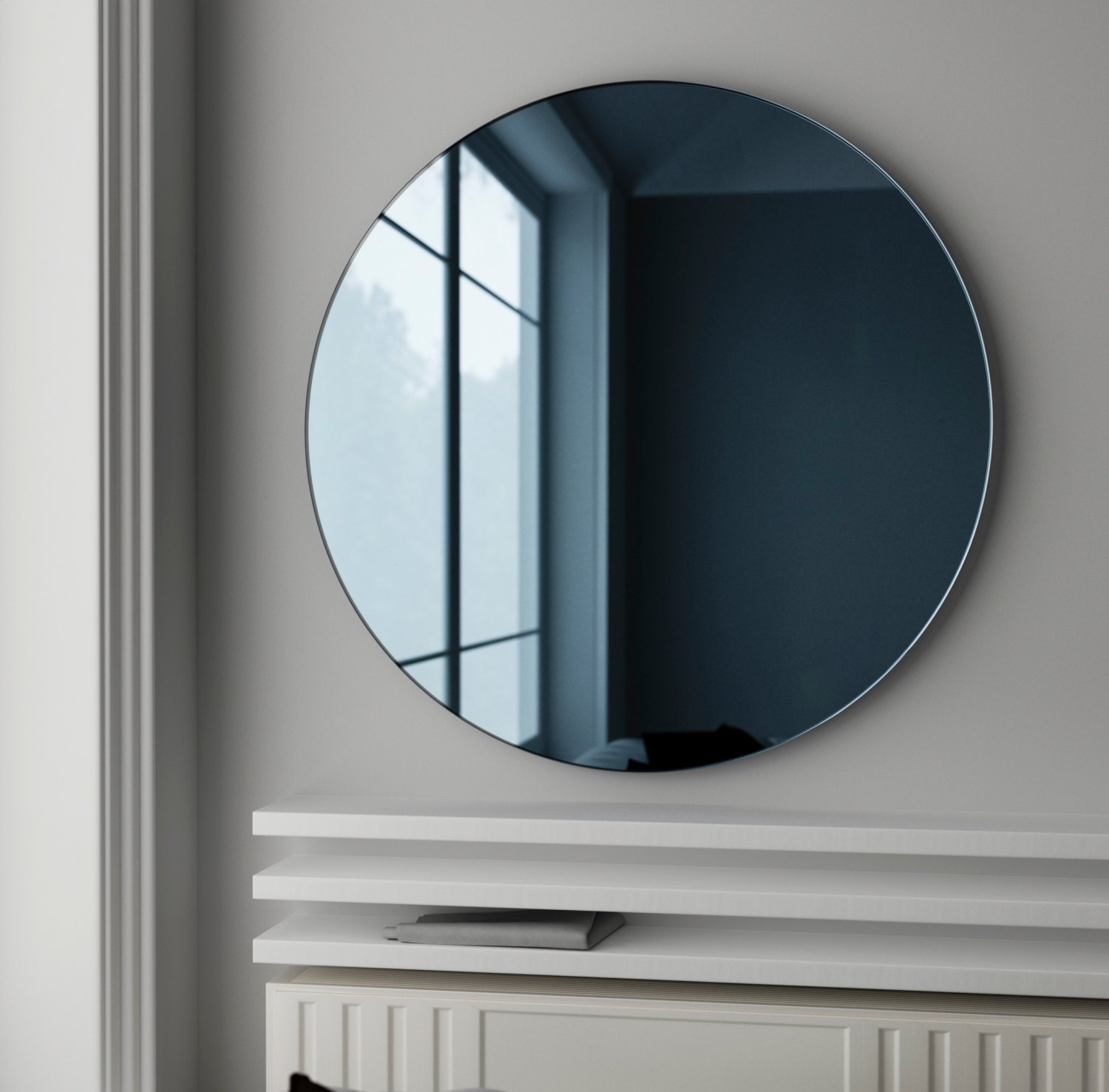 Blue glass mirror. MidCentury inspired wall mirror made with  0336a0e8fda