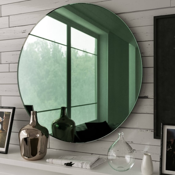 40 round mirror 18 inch image 40 round mirror round mirror with hand made glass and etsy