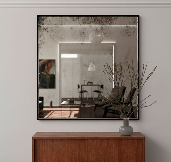 40 X 60 Framed Antiqued Mirror Square, Wall Mirror 40 X 60