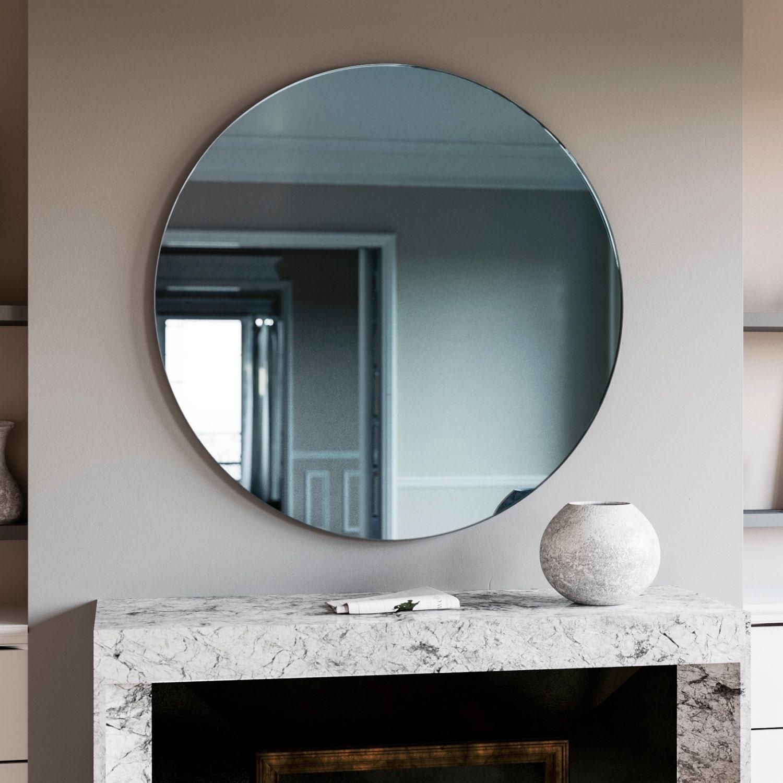 Round mirror. Blue Round Art Deco wall mirror made with  ebddfd9c0c2