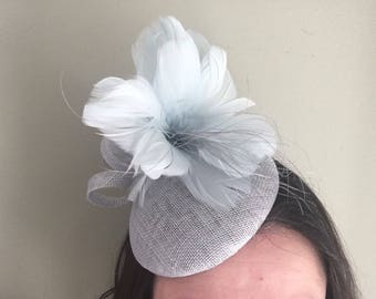 Ice Blue Fascinator Pillbox with Feather Flower