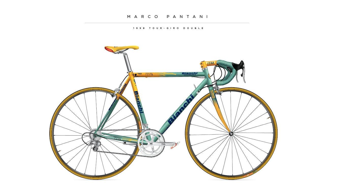 Bike print of the Marco Pantani Bianchi from 1998