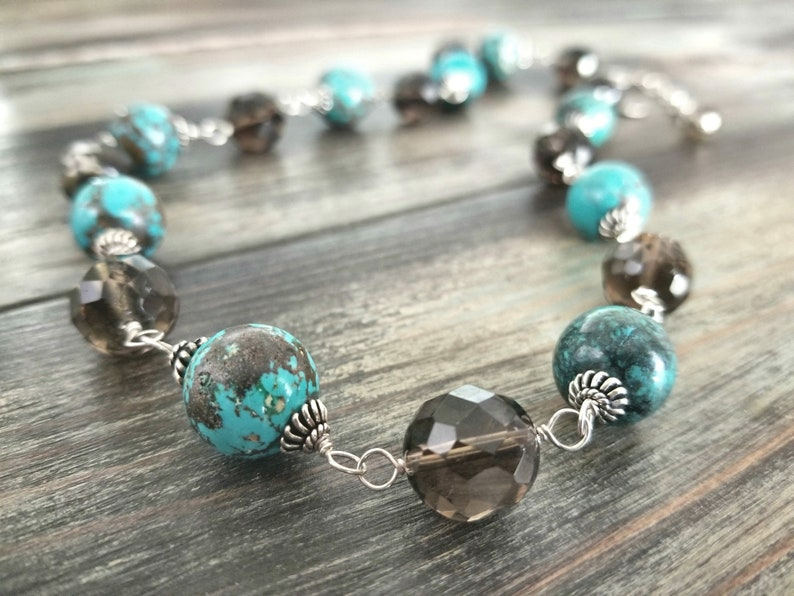 African Turquoise and Smoky Quartz Statement Necklace Set Earrings Wire Wrapped Sterling Silver Gemstone Southwest Jewelry Women Gift Chunky
