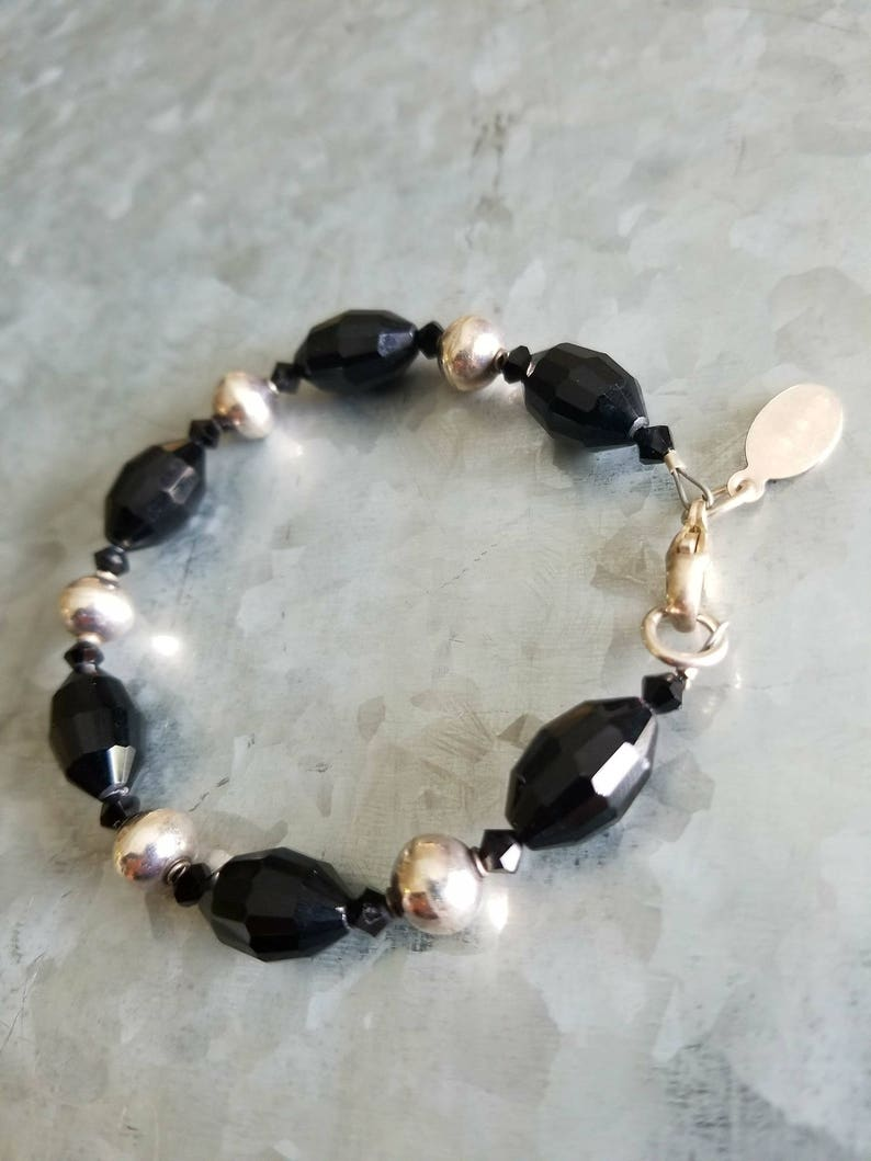 Black Statement Necklace Crystal Career Professional Business Appropriate Jewelry Set Bracelet Earrings Sterling Silver  925 Contemporary