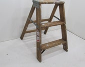 Vintage Step Ladder, Wood Three Step Ladder, Small Step Stool, Wooden Folding Step Stool, Plant Stand, Rustic Ladder, Farmhouse Stool