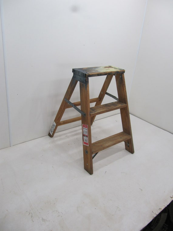 Outstanding Vintage Step Ladder Wood Three Step Ladder Small Step Stool Wooden Folding Step Stool Plant Stand Rustic Ladder Farmhouse Stool Pabps2019 Chair Design Images Pabps2019Com