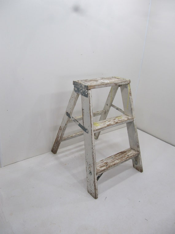 Fine Vintage Step Ladder Wood Three Step Ladder Small Step Stool Wooden Folding Step Stool Plant Stand Rustic Ladder Farmhouse Stool Pabps2019 Chair Design Images Pabps2019Com