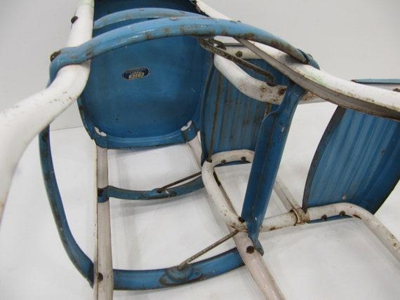 Fine Vintage Kitchen Stool Cosco Step Stool Folding Step Stool White Blue Metal Stool Mid Century Fold Out Steps Farm Stool Machost Co Dining Chair Design Ideas Machostcouk