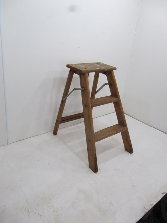 Astounding Vintage Step Ladder Wood Three Step Ladder Small Step Stool Wooden Folding Step Stool Plant Stand Rustic Ladder Farmhouse Stool Pabps2019 Chair Design Images Pabps2019Com