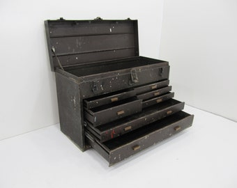 Vintage Toolbox, Machinist Toolbox, Industrial Cabinet, Jewelry Box, Brown 7 Drawer Metal Chest, Industrial Toolbox,Kennedy Toolbox.