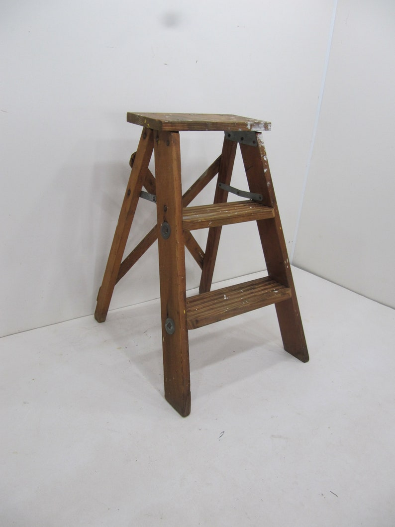 Excellent Vintage Step Ladder Wood Three Step Ladder Small Step Stool Wooden Folding Step Stool Plant Stand Rustic Ladder Farmhouse Stool Pabps2019 Chair Design Images Pabps2019Com