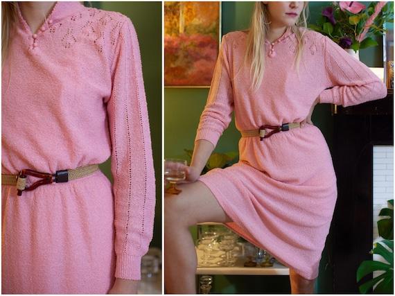 1970s does 1930s Pink Knit Dress // Long Sleeve Po