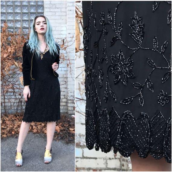 SALE! 1990s Black Silk Beaded Cocktail Dress // Sl